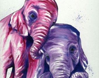 ON SALE Pink & Purple Baby Elephants Print   Original Elephant Art by Aidan Weichard   Fine Art Print   African Animal Art   Nursery Wall Ar
