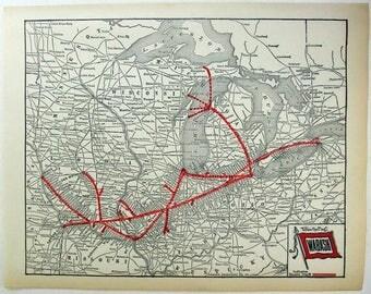 Original 1927 Wabash Railroad System Map by Parker Engraving Company. Vintage