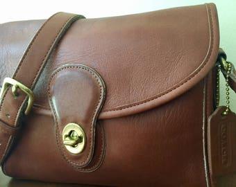 Gorgeous Vintage Coach Devon Bag, Brown Leather Coach Crossbody Bag, 1980's Messenger Bag, Bag 9908, Made In the USA.