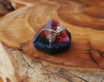 Silver Dragonfly Rainbow Chakra-Tuning Mediation Pocket-Pyramid Ormus Orgone Energy harmonizing crystals Quartz