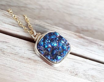 Genuine Druzy / Blue  Druzy Pendant/Druzy Necklace / Druzy Jewelry / Gifts for Her/Free Shipping Canada /Ready to Ship