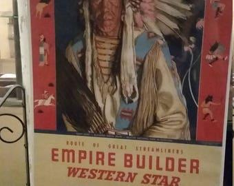 Very Rare NOS 1955 Great Northern RR Empire Builder Calendar Winold Reiss - Many Guns