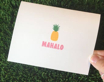 Pineapple Note Cards - Mahalo Note Cards - Hawaiian Note Cards - Pineapple Thank You Cards - Hula Note Cards