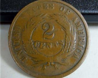Civil War Era Two Cents Copper Penny 1864 In God We Trust 2c