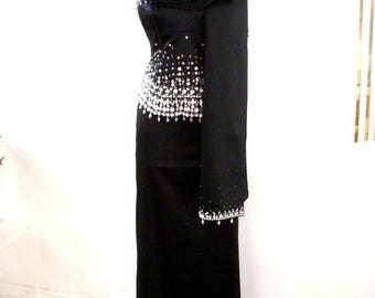 Vintage 90s Black Satin Beaded Evening Gown with Matching Stole by Bloomingdales - 3 Piece Black Prom Dress Skirt Top Stole - Medium 8 10