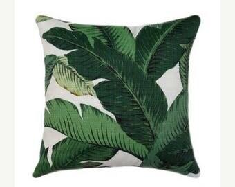 SALE Outdoor Pillow - Palm Leaf Pillow Cover, Green Pillow Covers, Banana Leaf Pillow, Hollywood Regency Decor, Hawaiian Decor, Sunroom Deco