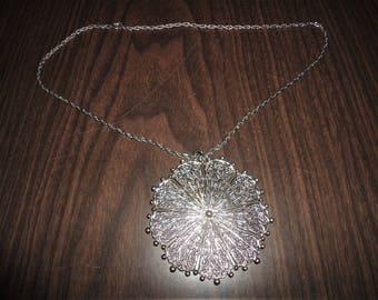 Vintage Large Medallion Pendant Necklace Filigree Silver Metal Costume Jewelry Modernist Mod