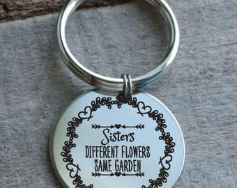 Sisters Different Flowers Same Garden Personalized Engraved Key Chain Gift
