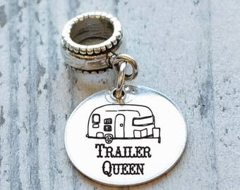 Trailer Camper Personalized Engraved Charm Bead