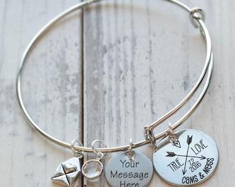 True Love Arrows Wire Adjustable Bangle Bracelet