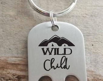 Wild Child Engraved Personalized Bottle Opener Key Ring