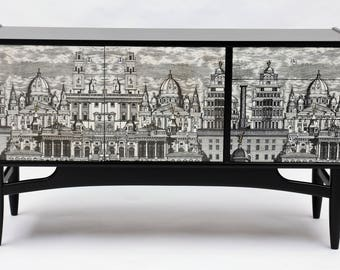 Re-modeled G Plan sideboard with Fornasetti city scape