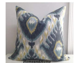 SALE Zipper Closure Robert Allen Bold Ikat Mineral ivory citrine shades grey pillow cover Decorative Throw Pillow 14x 14 16x16, 18x18, 20x20