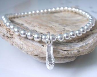 Silver Ballet Charm Bracelet, Ballerina Bracelet, Ballet Jewellery, Sterling Silver Stretch Bracelet, Dancer Bracelet, Dance Gift, Handmade