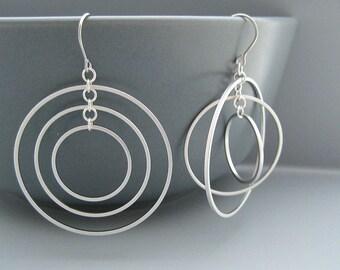 Triple Hoop Earrings - Silver Multiple Hoops, Orbital Earrings, Office Work Jewelry - Concentric