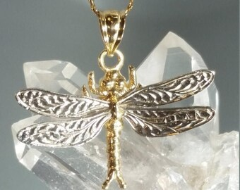 ON SALE 14K Solid Yellow and White Gold Dragonfly Pendant Retro Vintage