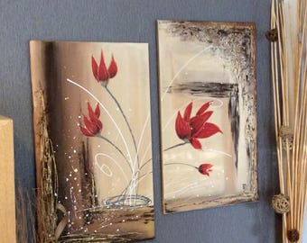 """Contemporary abstract painting diptych floral """"Tulips red flames"""" 35cm / 60cm x 2"""