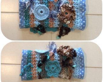 Blue Crochet Fidget Sensory Twiddle Muff Dementia Alzheimers Autism