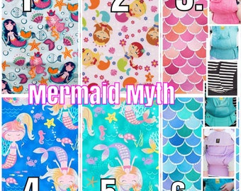 Ergo360 or Lillebaby 3-pc sets. Headrest Bib/Straight Pads. Curved Pads upgrade and personalize available. MERMAID MYTH. choose 2.