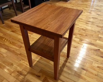 Jatoba End Table with a Shelf