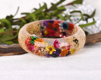 Resin Bangle Bracelet,  Real Flower Resin Bracelet, Real Flower Resin. Nature jewellery. Botanical Resin Bracelet. OCEAN PETALS