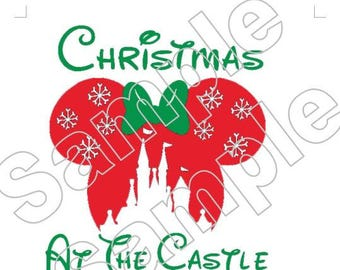 Disney Mickey Minnie Christmas at the Castle Vacation Iron On Shirt Transfer #9843