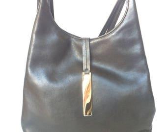 Authentic Salvadore Ferragamo Black Leather Shoulder Bag