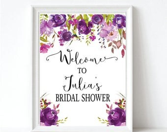 Purple Floral Bridal Shower Welcome Sign - Wedding Shower Welcome Sign - Bridal Shower Decor - Printable Sign
