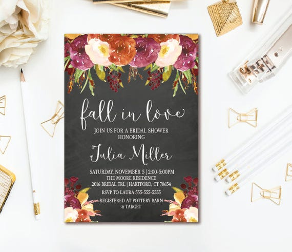 Fall in love bridal shower invitation burgundy fall floral bridal il570xn filmwisefo