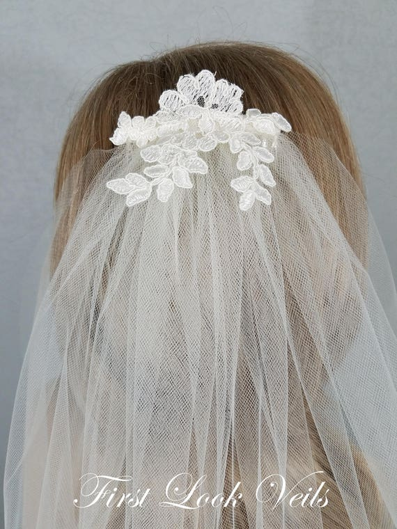 Ivory Bridal Veil, Lace Top, Fingertip Bridal Veil, Wedding Vail, Bridal Attire, Bridal Accessory, Wedding Acceories, Plain Veil, Bride