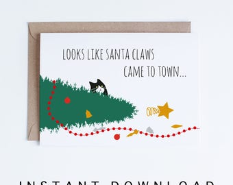 Printable Holiday Greeting Cards, Funny Tuxedo Cat Christmas Cards, Santa Claws Cat Card DIY, Christmas Digital Downloads