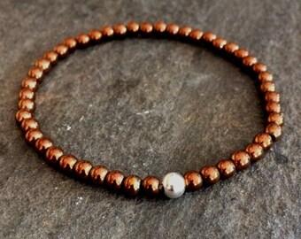 COPPER STRETCH BEAD Bracelet Sterling Silver / Gold Fill 4mm Copper Hematite tiny gemstone bead Bracelet small minimal jewellery chakra gift