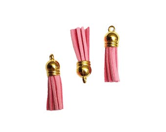 Tassel - 10 Pink Tassel Charms - Small Tassels - Gold Cap - Key Chain Tassels - Decorative Tassels For Jewelry Making, Wine Charms - TC-G039