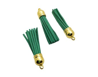 Tassels - 58mm Long Tassels - 10 Green Tassels with Gold Cap - Purse Tassel Pendant - Key Chain Tassel - Tassels for Jewelry - TL-G141