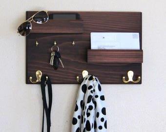 coat rack and key rack with floating ledge mail phone and sunglasses storage organizer