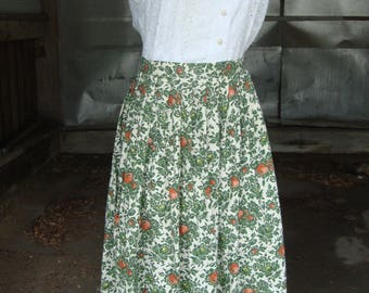 Vintage 1950's Cotton Floral Print Pleated Full Skirt * XS-S