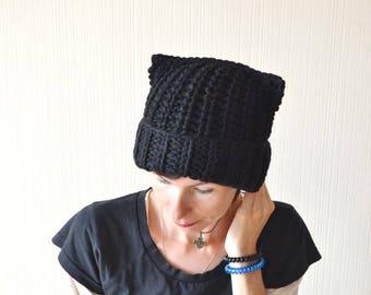 black cat hat pussy hat cat lover gift womens gift|for|women winter hat cat ears hat halloween cat black hat kitty hat ear hat knit hat