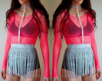 Rhinestone body harness, fringe skirt, festival outfit, rave costume, edm outfit, rave outfit, festival costume, rave skirt, rave bra