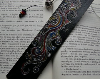 "Leather decorative bookmark ""scrolls"" bookmark"