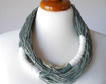 Linen jewelry linen necklace natural fibers neutral colors summer necklace natural linen necklace eco jewelry linen cord necklace emerald