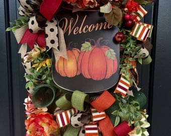 Fall Swag- Fall Wreath-Wreath, Autumn Wreath, Deco Mesh Wreath, Fall Door Swag- Welcome Wreath, Thanksgiving Wreath, Monogrammable Wreath