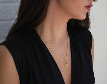 Dainty Cactus Necklace • Gold Layering Necklace • Gift for Her • Long Gold Necklace