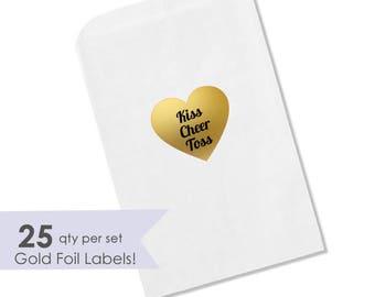 Petal Toss Bags- Wedding Petal Toss- Wedding Confetti Bags- Kiss Cheer Toss- Kiss Toss Cheer- Toss Me Stickers- Petal Toss- Wedding Ceremony