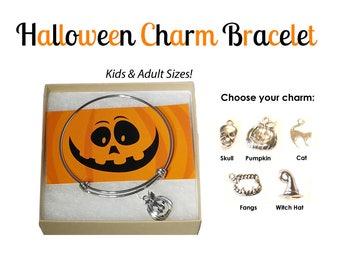 Halloween Charm Bracelet- Halloween Bracelet- Halloween Jewelry- Pumpkin Bracelet- Halloween Jewelry Kids- Skull Bracelet- Pumpkin Bangle