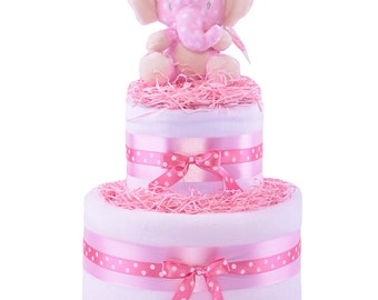 Pink Jungle Friends Baby Girls Nappy Cake Elephant