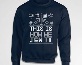 Ugly Holiday Sweater Hanukkah Gifts Chanukah Holiday Sweatshirt Israel Clothes Holiday Presents Jewish Clothing Hoodie Pullover TEP-524