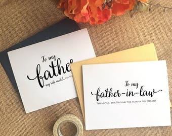To my Father-in-law on my wedding day Card to my father in law card Father in law wedding gift father of the groom card