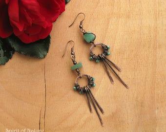 Green aventurine earrings Wire wrapped copper earrings Copper wire earrings  Hammered copper earrings Green aventurine jewelry Boho earrings