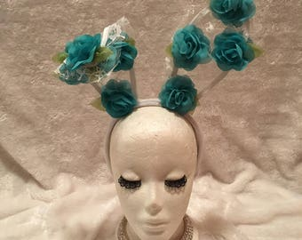 White Lace Bunny Ears with Aqua Blue Teal Flowers. Burlesque Cabaret Vintage Shabby Chic Boho Costume Accessory