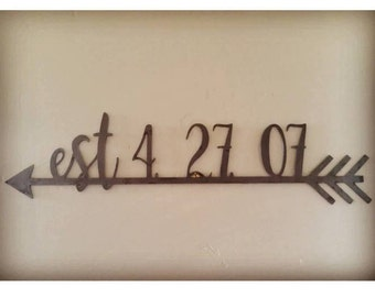 21 Inch Custom Personalized Metal Est. Date Arrow Raw Metal Wedding Gift